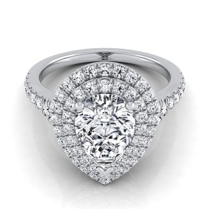 Pear Shape Diamond Double Halo Engagement Ring With A Pave Shank In 14k White Gold (1/2 Ct.tw.)