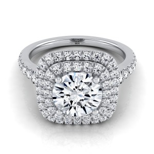 Diamond Double Halo Engagement Ring With A Pave Shank In Platinum (1/2 Ct.tw.)