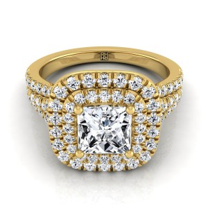 Princess Cut Double Halo Engagement Ring With A Pave Shank In 14k Yellow Gold (4/5 Ct.tw.)