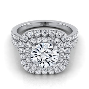 Diamond Double Halo Engagement Ring With A Pave Shank In 14k White Gold (4/5 Ct.tw.)
