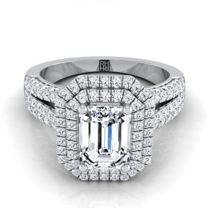 Emerald Cut Double Halo Engagement Ring With Split Pave Shank In 18k White Gold (9/10 Ct.tw.)