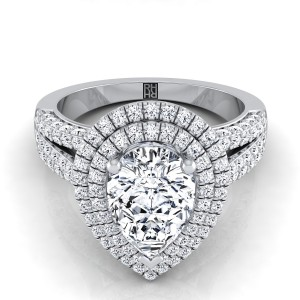 Pear Shape  Halo Engagement Ring With Split Pave Shank In 14k White Gold (9/10 Ct.tw.)