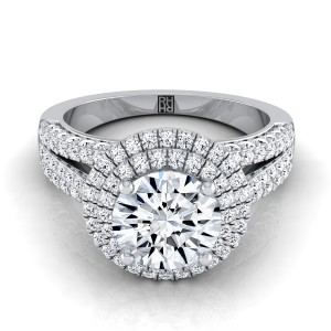 Diamond Double Halo Engagement Ring With Split Pave Shank In Platinum (9/10 Ct.tw.)