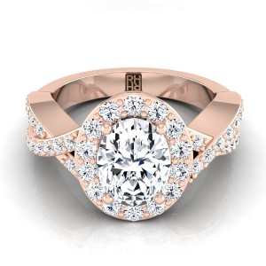 Oval Diamond Halo Engagement Ring With Infinity  Shank In 14k Rose Gold (3/4 Ct.tw.)