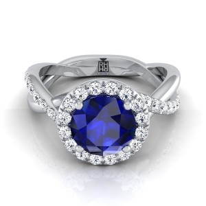 Sapphire Round With Diamond Halo Engagement Ring And  Infinity  Shank In 14k White Gold (3/8 Ct.tw.)