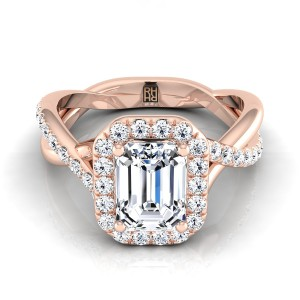 Emerald Cut Diamond Halo Engagement Ring With Infinity  Shank In 14k Rose Gold (3/8 Ct.tw.)