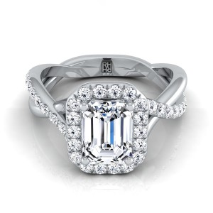Emerald Cut Diamond Halo Engagement Ring With Infinity  Shank In 14k White Gold (3/8 Ct.tw.)
