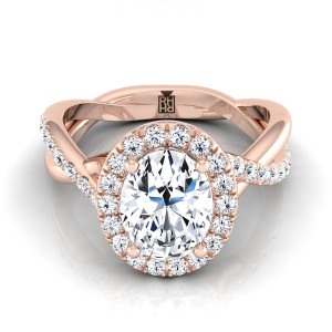 Oval Diamond Halo Engagement Ring With Infinity  Shank In 14k Rose Gold (3/8 Ct.tw.)