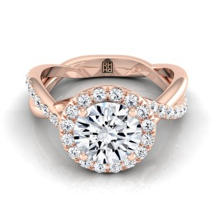 Diamond Halo Engagement Ring With Infinity  Shank In 14k Rose Gold (3/8 Ct.tw.)