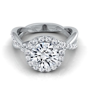 Diamond Halo Engagement Ring With Infinity  Shank In Platinum (3/8 Ct.tw.)
