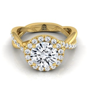 Diamond Halo Engagement Ring With Infinity  Shank In 14k Yellow Gold (3/8 Ct.tw.)