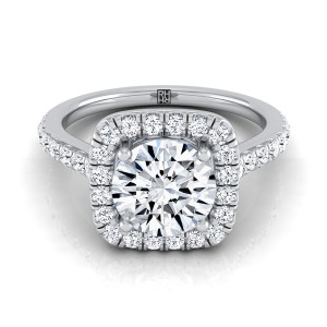 Diamond Square Halo Engagement Ring With Pave Shank In Platinum (1/2 Ct.tw.)