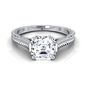 Asscher Cut Antique Inspired Engraved Diamond Engagement Ring With Millgrain Finish In 18k White Gold