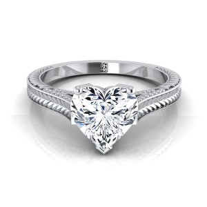 Heart Shape Antique Inspired Engraved Diamond Engagement Ring With Millgrain Finish In 14k White Gold