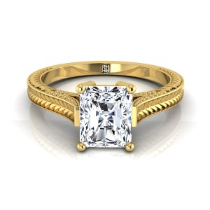 Radiant Cut Antique Inspired Engraved Diamond Engagement Ring With Millgrain Finish In 18k Yellow Gold