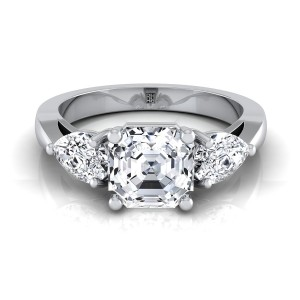 Asscher Cut Center With Pear Shape Sides 3 Stone Engagement Ring In 14k White Gold (1 Ct.tw.)