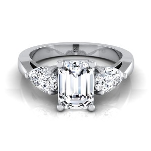 Emerald Cut Center With Pear Shape Sides 3 Stone Engagement Ring In 14k White Gold (1 Ct.tw.)