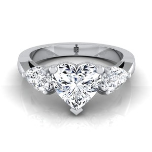Heart Shape Center With Pear Shape Sides 3 Stone Engagement Ring In 14k White Gold (1 Ct.tw.)