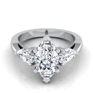 Marquise Center With Pear Shape Sides 3 Stone Engagement Ring In 14k White Gold (1 Ct.tw.)