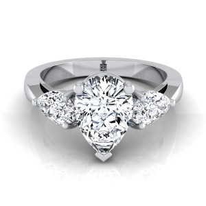 Pear Shape  3 Stone Engagement Ring In 14k White Gold (1 Ct.tw.)
