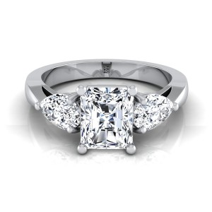 Radiant Cut Center With Pear Shape Sides 3 Stone Engagement Ring In 14k White Gold (1 Ct.tw.)