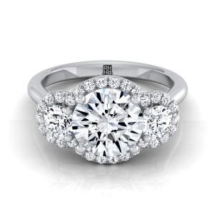 3 Stone Diamond Engagement Ring In Platinum (1/2 Ct.tw.)