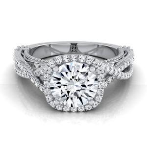Diamond Halo Infinity Shank Ring In 14k White Gold (1/3 Ct.tw.)
