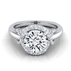 Diamond Halo Engagement Ring With Love Knot Shank In Platinum ( 1/5 Ct.tw.)