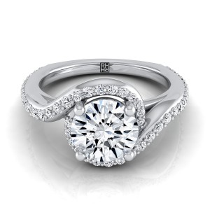 Diamond Pave Wave Design Engagement Ring In 14k White Gold (3/8 Ct.tw.)
