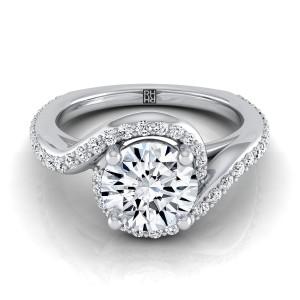 Diamond Pave Wave Design Engagement Ring In Platinum (3/8 Ct.tw.)