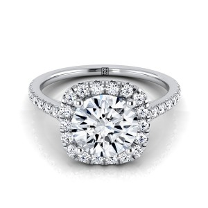 Diamond Halo Engagement Ring With Pave Shank In 14k White Gold (1/3 Ct.tw.)
