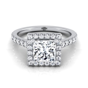 Princess Cut Diamond Round Halo Engagement Ring In 14k White Gold (3/8 Ct.tw.)