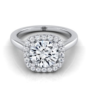 Diamond Halo Engagement Ring In 14k White Gold (1/6 Ct.tw.)