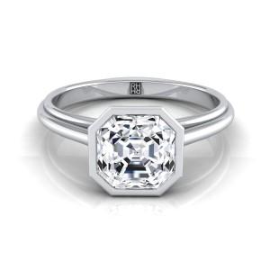 Asscher Cut Diamond Bezel Solitaire Engagement Ring In 14k White Gold
