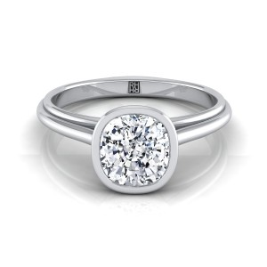 Cushion Cut Diamond Bezel Solitaire Engagement Ring In 14k White Gold