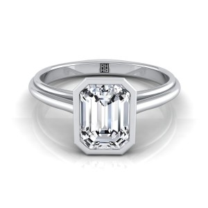 Emerald Cut Diamond Bezel Solitaire Engagement Ring In 14k White Gold