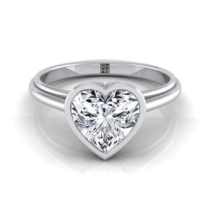 Heart Shape Diamond Bezel Solitaire Engagement Ring In 14k White Gold