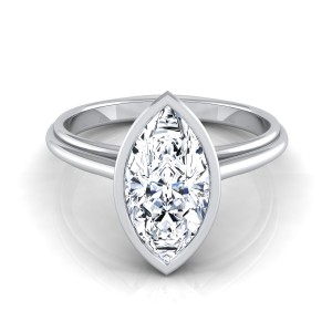 Marquise Diamond Bezel Solitaire Engagement Ring In 14k White Gold
