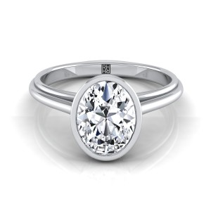 Oval Diamond Bezel Solitaire Engagement Ring In 14k White Gold