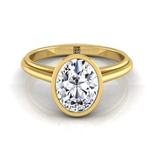 Oval Diamond Bezel Solitaire Engagement Ring In 18k Yellow Gold
