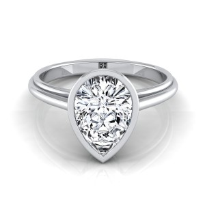 Pear Shape Diamond Bezel Solitaire Engagement Ring In 14k White Gold