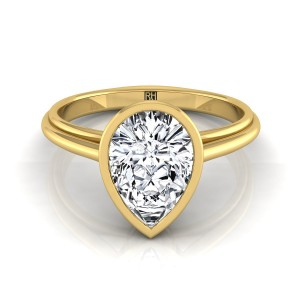 Pear Shape Diamond Bezel Solitaire Engagement Ring In 14k Yellow Gold