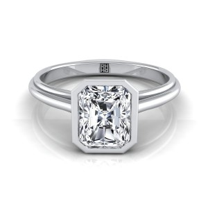 Radiant Cut Diamond Bezel Solitaire Engagement Ring In 14k White Gold
