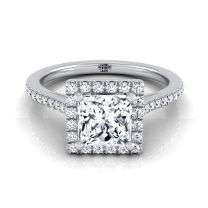 Princess Cut Diamond Halo Engagement Ring With Graduated Pave Shank In 14k White Gold (1/4 Ct.tw.)