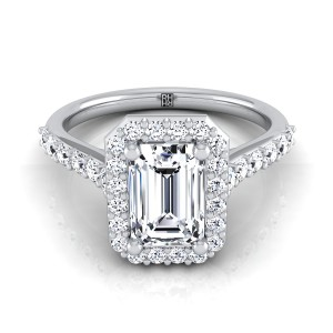 Emerald Cut Diamond Halo Engagement Ring With Pave Shank In 14k White Gold (1/2 Ct.tw.)