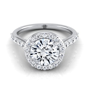 Diamond Halo Engagement Ring With Pave Shank In 14k White Gold (1/2 Ct.tw.)