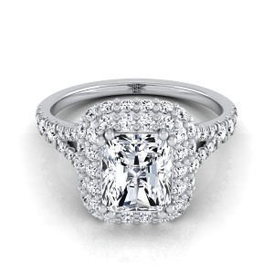 Radiant Cut Diamond Double Halo  Engagement Ring With Diamond Pave Shank In 14k White Gold (2/3 Ct.tw.)