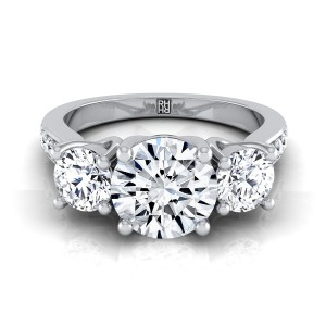 3 Stone Engagement Ring With Diamond Pave Shank In 14k White Gold (7/8 Ct.tw.)