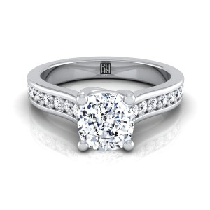 Cushion Cut Diamond Engagement Ring With Pave Shank In 14k White Gold (1/3 Ct.tw.)