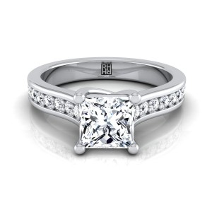 Princess Cut Diamond Engagement Ring With Pave Shank In 14k White Gold (1/3 Ct.tw.)